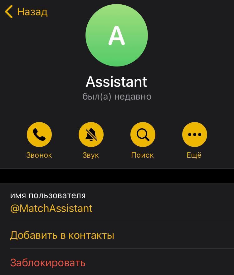 match assistant админ